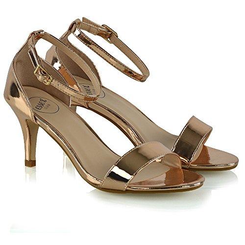Cinturino Alla Glam Sandalo Tacco Basso Sintetico Oro Stiletto Toe Caviglia Peep Metallizzato Rosa Essex Donna cfp4wTgq8g