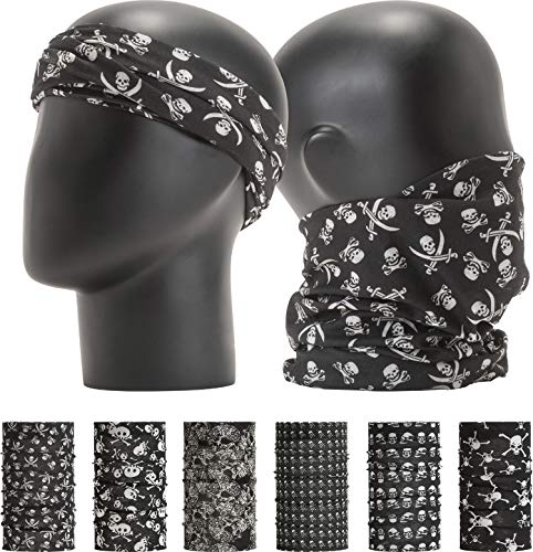 "LEEVO Pattern Bold Headwear Scarf Boho Headband Wrap Shield Neck Gaiter Bandana (Free Size (18.5"" 9.25""), Black and White Assorted No.2 (Skull), 6pcs Total)"