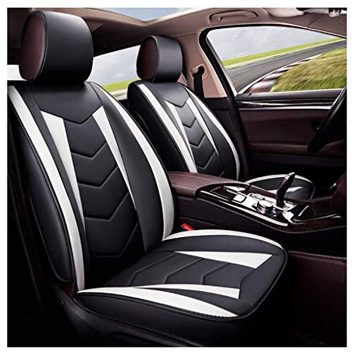 Front seat covers and rear seat covers Set of 5 Universal leather seats for universal pads for airbag protection Pad Waterproof (white color):