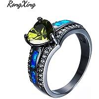 LALISA Fashion Blue Fire Opal Olive Green Peridot Ring Black Gold Wedding Band Size5-11 (8)