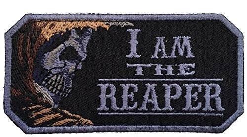 "[Single Count] Custom and Unique (4'' x 1.5'') Rectangle ""Tactical"" ''I Am The Reaper'' Embroidered Applique Patch {Brown, Black, & Purple Colors} [Licensed] by Patch Squad USA"