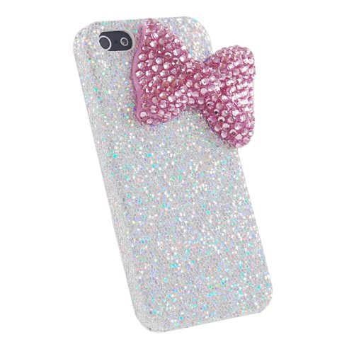 Mavis's Diary Bling Handmade 3D Stylish Big Bow Shining Back Case Cover for Iphone SE 5 5S with Soft Clean Cloth (Pink Bow Silver Case)