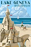 Lake Geneva, Wisconsin - Sand Castle (16x24 Giclee Gallery Print, Wall Decor Travel Poster)
