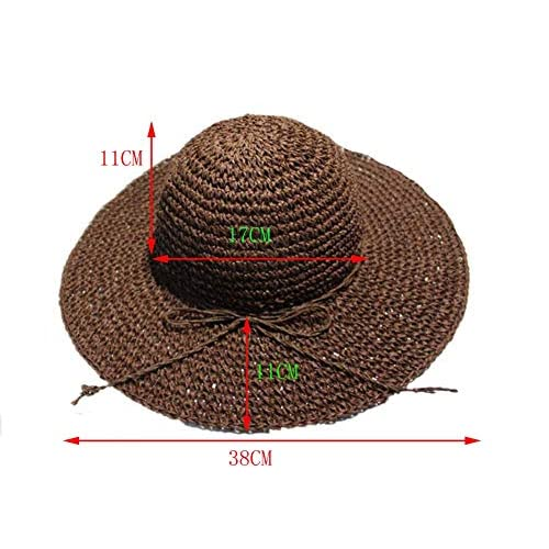 luzen Women Girls Foldable Bohemia Wide Brim Roll-up Crocheted Straw Hat Beach Sun Visor Cap for Holiday Travel