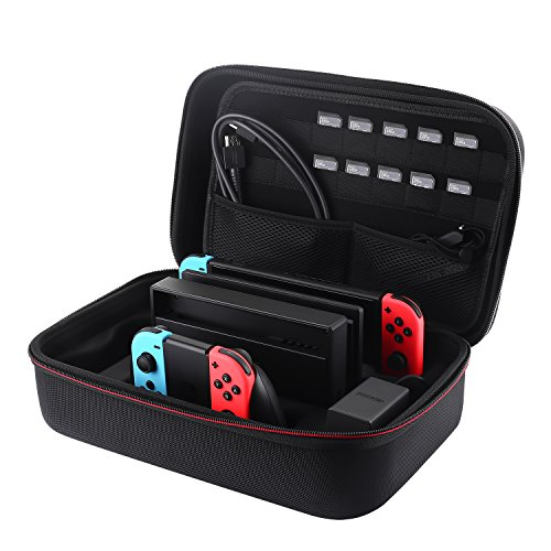 Carrying Case for Nintendo Switch, Libier Portable Travel Cases for Nintendo Switch Hard Storage Bag Pouch with 18 Game Cartridge,Water Resitant & ShockProof, Black