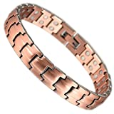 YINOX Copper Magnetic Bracelet with Extra Strong Magnets 1200 Gauss for Women Wollet Jewelry 19.5CM/10MMfor Arthritis Pain Relief Prime Magnet Therapy and Pain Relief Bracelets Increased Energy