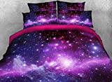 Beddinginn 4pcs 3d Purple Galaxy Bedding Sets Starry Sky Duvet Cover Set.1 Duvet Cover+2 Pillowcase+1 Flat Sheet(King Size 88''X90'')