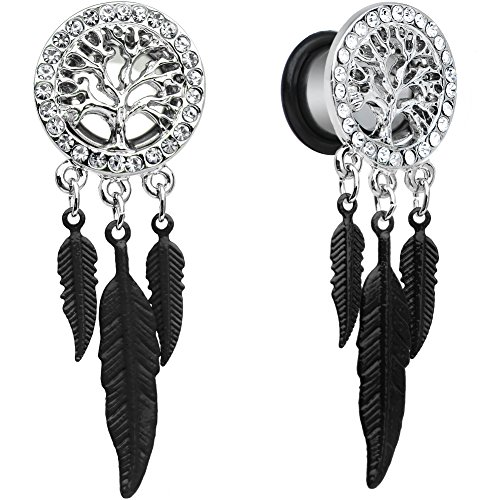 Body Candy Steel Single Flare Clear Accent Tree of Life Feather Dangle Plug Set 00 Gauge