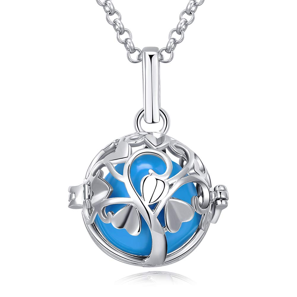 Love Tree Necklace for Women Harmony Ball Pendant Necklaces Locket Gifts for Women Girls GUALOV C01-B03