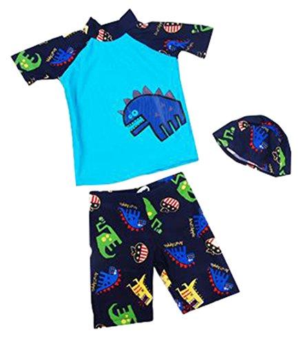 OMSMY dreiteiligen Badeanzug Dinosaurier Jungen Badehoseder Kinder Sonnenhut Schwimmanzug Badeanzug Bademode (L/8T(105CM-115CM), Blau)