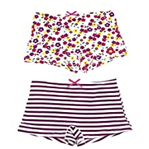 AmazingUSA Little Girls' 2 Pack Cotton Strap Underwear Purple&White Strap