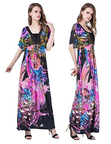 MODETREND Mujer Bohemia Vestidos Largo Tallas Grandes de Deep V-Neck para Vacaciones Banquete Vestido de Playa color 4