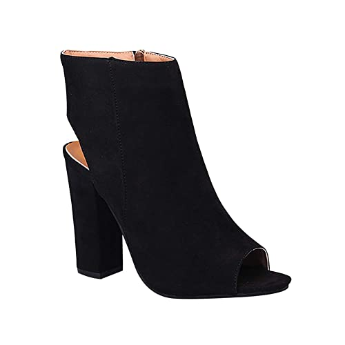 Tenthree Zapatos para Mujer Botas - Mujer Tacón Alto Punta Abierta Botines Cremallera Lateral Peep Toe Espalda Abierta Plataforma Delgado Sandalias de ...