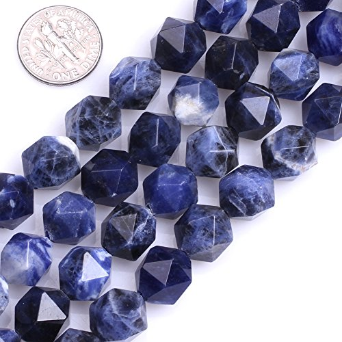 GEM-Inside Natural 12mm Faceted Blue Sodalite Gemstone Loose Beads Cambay Stone Beads for Jewelry Making Jewelry Beading Supplies for Women