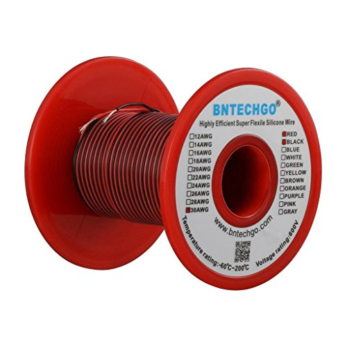 BNTECHGO 30 Gauge Silicone Wire Spool 50 feet Ultra Flexible High Temp 200 deg C 600V 30 AWG Silicone Wire 11 Strands of Tinned Copper Wire 25 ft Black and 25 ft Red Stranded Wire for Model Battery