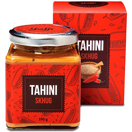 Yoffi Tahini Paste with Skhug 100% Stone Ground Based Sesame Kosher Pareve Vegan-Friendly (6.7 Oz)