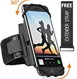 Premium Sports Running Armband for All Phones: iPhone X XR XS Max 8 Plus 7 Plus 6, Samsung Galaxy A8 S10 S9 S8 Edge, LG, HTC, Pixel; 360° Rotatable Universal Cellphone Holder + Free Extender Strap