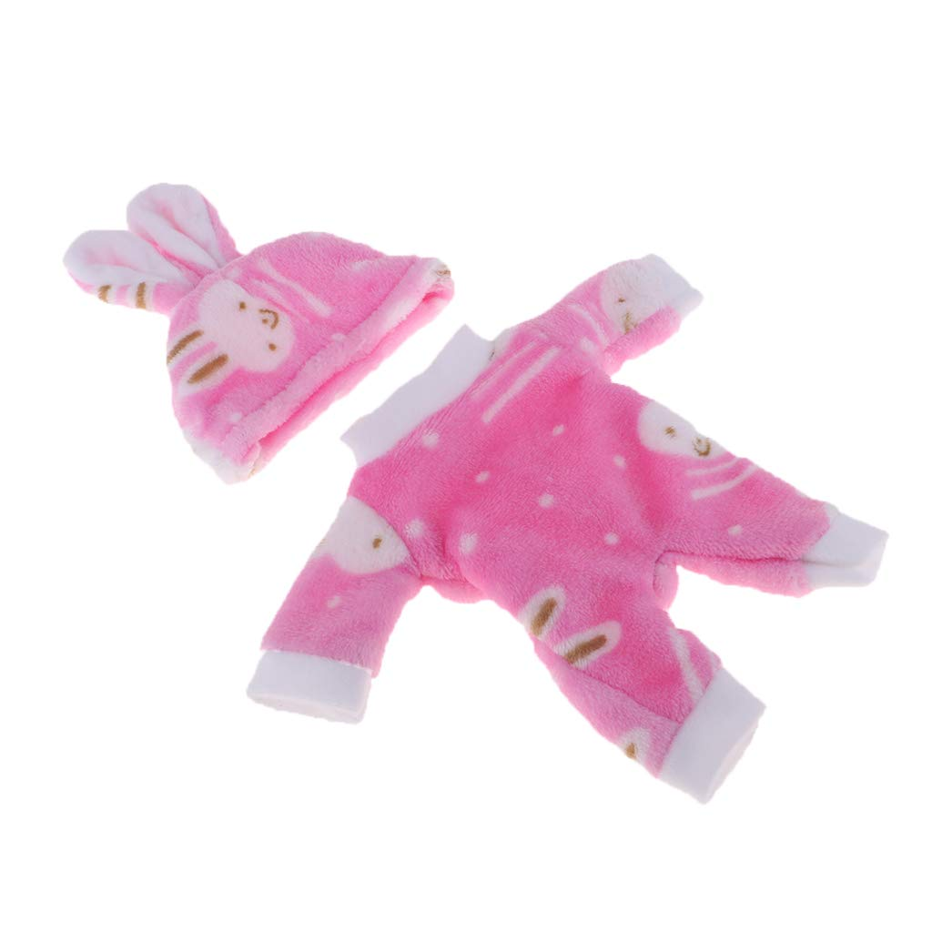Cute Mini Clothes Set for Mellchan Baby 9-11inch Newborn Doll Pink Suits