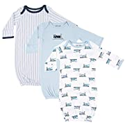 Luvable Friends Unisex 3 Pack Cotton Gown, Trains, 0-6 Months