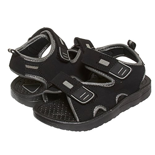 Skysole Boys Double Velcro Adjustable Strap Lightweight Sandals Black/Grey 13/1