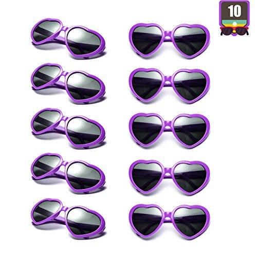 10 Packs Neon Colors Wholesale Heart Sunglasses (Purple) -
