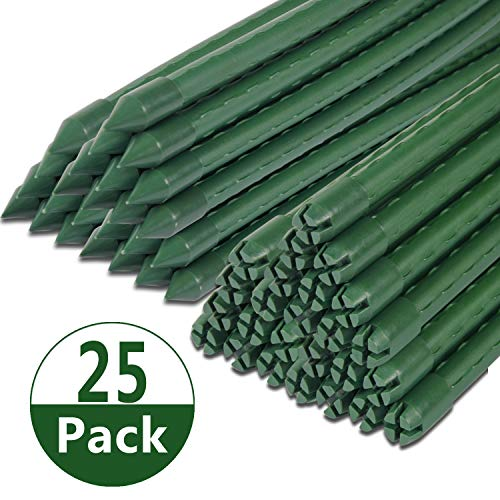 Tingyuan Garden Stakes 72 Inches Steel Plant Stakes, Pack of 25