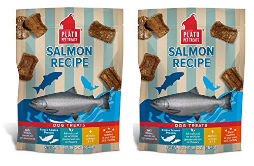 PLATO Dog Treats -Salmon Real Strips- 16 oz (2 pack) For Sale