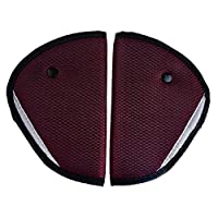 Pinksee Car Child Safety Cover Harness Pad for Seatbelt, Comfortable Protection for Adult Children, Pack of 2 (Wine red)