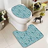 Muyindo Toilet carpet floor mat Islamic Arabian Inspiredwith Rounded Modern Ornaments Bathroom 2 Piece Shower Mat set