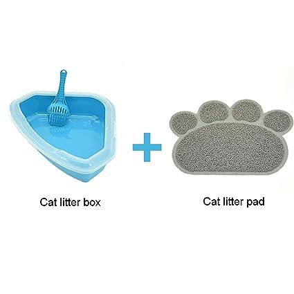 Corner Litter Tray With Rim Blue