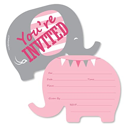 Pink Elephant Shaped Fill In Invitations Girl Baby Shower Or Birthday Party Invitation Cards With Envelopes Set Of 12