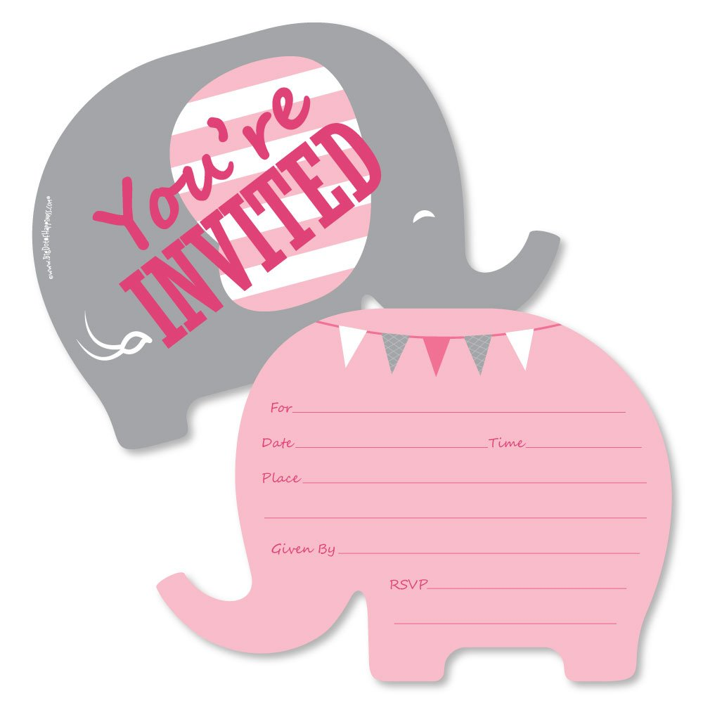 Pink Elephant - Shaped Fill-In Invitations - Girl Baby Shower or Birthday Party Invitation Cards with Envelopes - Set of 12