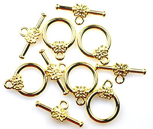 25 GOLD PLATED FLOWER TOGGLE CLASPS BULK