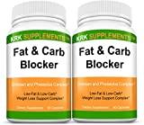 2 Bottles Fat and Carb Blocker with Phaseolus Vulgaris (White Kidney Bean Extract)