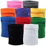 Suddora Multi Colored Zipper Sweatband Wristband (Black)