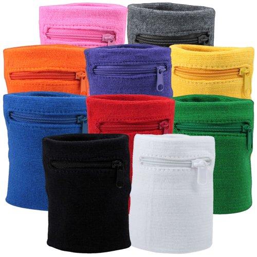 Suddora Multi Colored Zipper Sweatband Wristband (Black)