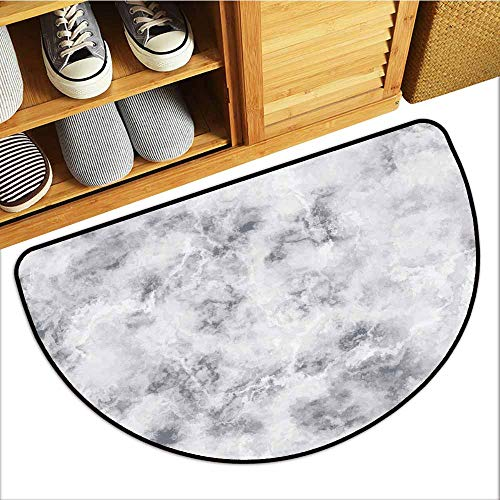 Axbkl Entrance Door mat Marble Granite Surface Pattern with Stormy Details Natural Mineral Formation Print Personality W30 xL18 Light Grey Dust]()