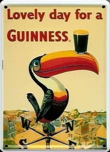 GUINNESS IRISH TOUCAN LOVELY Small Metal Tin Pub Sign by Guinness