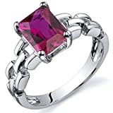 Created Ruby Ring Sterling Silver Rhodium Nickel Finish Chainlink Style 2.00 Carats Size 8