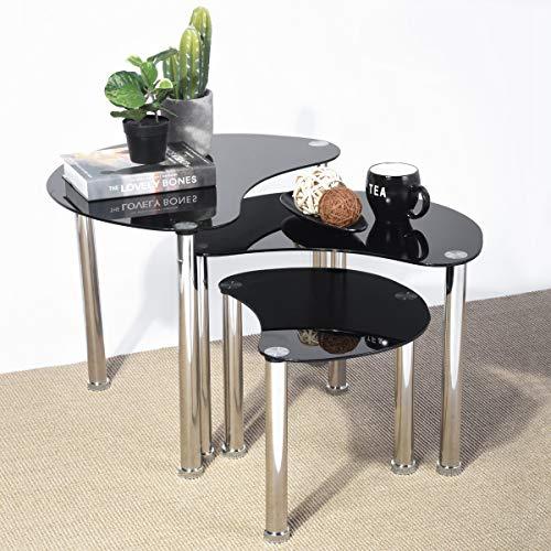 Aingoo Glass Nesting Coffee Table Small Sofa Table Set of 3 Modern Tear Shape Silver Steel Leg Black 19x26in LW Moontear ()