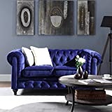 Classic Scroll Arm Chesterfield Style Navy Blue Loveseat (Navy Blue)