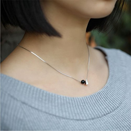 Generic Wu_ silver ornaments simple _geometric_ black _onyx_cone_ pendant necklace clavicle chain s925 sterling silver jewelry gifts girl s (Geometric Onyx Necklace)