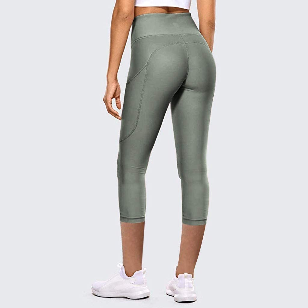 FDelinK High Waist Yoga Pants with Pockets for Women,Tummy Control,Workout Running Yoga Leggings