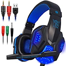 Gaming Headset with Mic and LED Light for Laptop Computer, Cellphone, PS4 and the New Xbox One, DLAND 3.5mm Wired Noise Isolation Gaming Headphones - Volume Control.( Black and Blue )