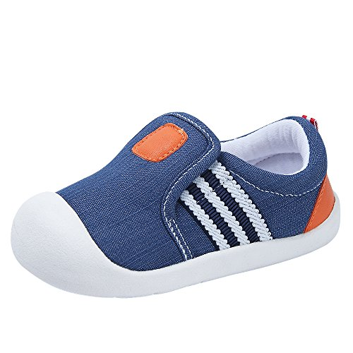 Baby Girls Boys Canvas Casual Breathable Rubber Sole Outdoor Sneakers First Walkers Shoes (13cm(12-18months), Blue)