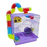 Gaiola 3 Andares Azul para Hamster com Tubo Labirintos Coloridos