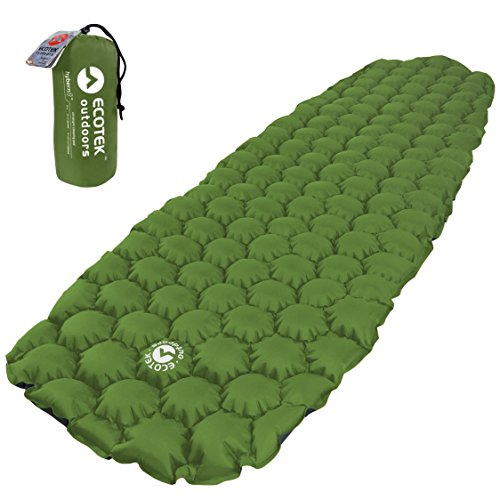 Inflatable Camping Mattress (EcoTek Outdoors Hybern8 Ultralight Inflatable Sleeping Pad for Hiking Backpacking and Camping - Contoured FlexCell Design - Perfect for Sleeping Bags and Hammocks (Evergreen))