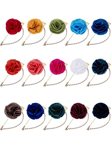Hestya Men's Satin Lapel Pins with Metal Chain, Handmade Boutonniere Pins with Metal Chain and Storage Box (15 Colors) ()
