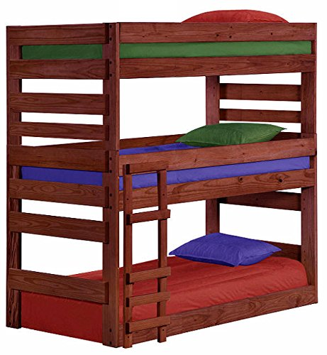 Cass County Extra Long Twin Size Triple Bunk Bed (Mahogany)