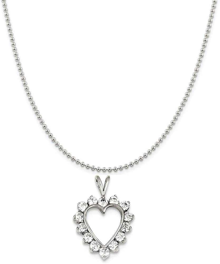 Snake or Ball Chain Necklace Sterling Silver Synthetic CZ Heart Pendant on a Sterling Silver Cable